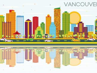Vancouver Skyline with Color Buildings, Blue Sky and Reflections. Vector Illustration. Business Travel and Tourism Concept with Modern Architecture. Image for Presentation Banner Placard and Web Site